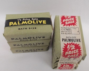 New/Old Stock Palmolive Bath Soap Bars Advertising graphics Green Crepe label