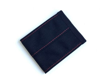 Minimalist Vegan Wallet in Black Cordura Nylon with Red Stitching