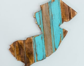 Wooden State of New Jersey, Vintage Bead Board Distressed Reclaimed Wood Inspired