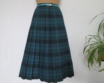 Pleated Skirt Vintage / Size EUR40 / UK12 / Checkered / Tartan / Plaid / Turquoise / Black