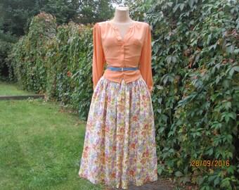 Cotton Skirt / Skirt Vintage / Full Cotton Skirt / Buttoned Cotton Skirt / Long Cotton Skirt / Pockets / Skirt Floral / Size EUR44 / UK16