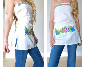 Sweeties Strapless Top Embroidered Flowers Hippie Masa Long Off White Cotton Colorful Embroidery Gathered Stretch Waist