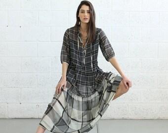 Summer SALE SALE!Sheer Plaids Maxi dress