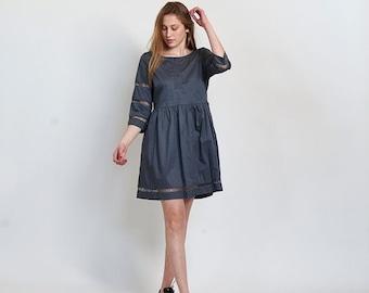 Final Summer Sale Embroidered Trim Midi dress- Gray midi dress