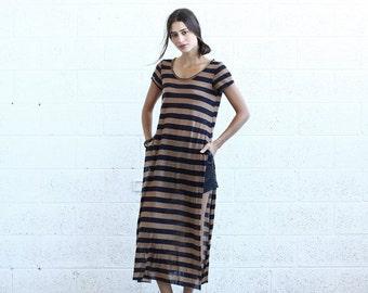Valentines day SALE! Striped Maxi T-shirt dress, Black&Brown
