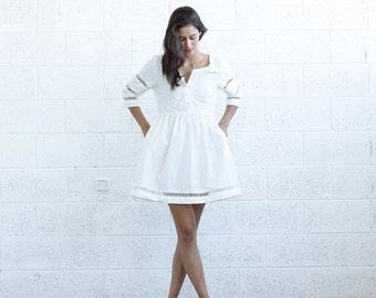 SALE 30% OFF! Embroidered Trim Midi dress, White.