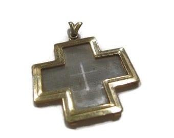 Gold cross pendant containing microfiche scripture