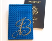 Passport Cover Gold Glitter Monogram Royal Blue Bridesmaids Maid of Honor Gift Destination Wedding International Travel Wallet Graduation