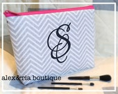 Monogram Makeup Bag Gray Chevron Bridesmaid Maid of Honor Gift Personalized Medium Travel Pouch Open Wide Zippered Cosmetic Bag Christmas
