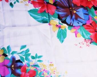 Vintage Floral Head Scarf, Flower Patterned Scarf, Bold Colors Scarf