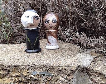The Phantom of the Opera and Christine Daae: Spool dolls (NOT SPOOLKNITTERS)