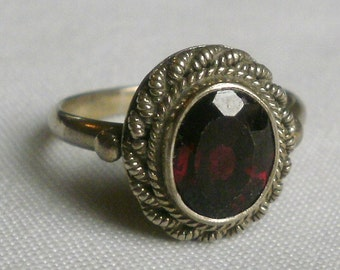 Sterling Silver Garnet Ring-Size 6 7/8