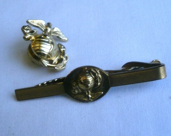 US Marines Gold Medal Pin And Tie Clasp