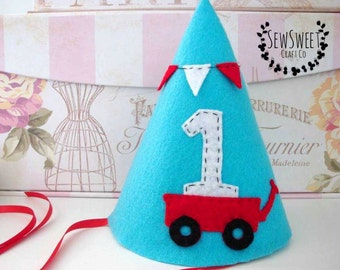 Red Wagon Party Hat, Felt Party Hat, First Birthday, Photography Prop