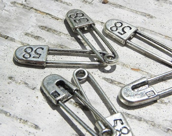 Silver faux safety pin