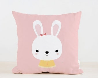 Nursery Girl Bunny Pillow, Kids Pillow Cushion, Home decor, Children Room Decor, Baby room deocr