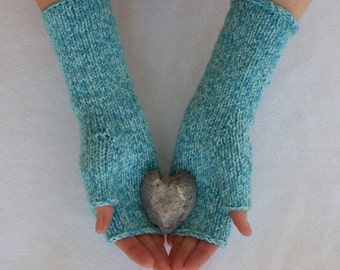 fingerless mitts - hand knit arm warmers,  teal tweed reclaimed merino blend yarn, ooak