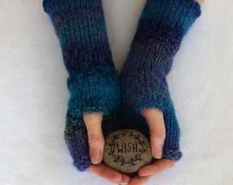 fingerless mitts, texting mittens, hand knit arm warmers - tweed stripes in blue, purple and green, ooak