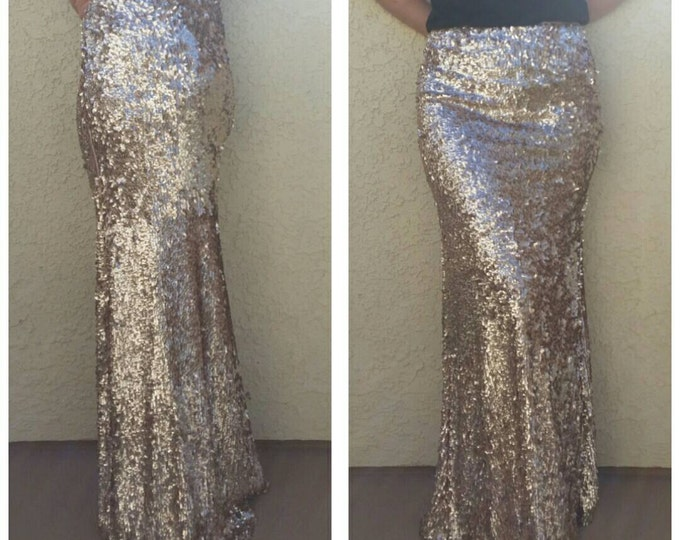 SALE til 11/23 Maxi Matte Champagne -Gorgeous high quality sequins- Long sequined skirt (S,M,L,XL)