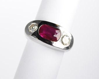 Bold Unisex 3 Stone Ruby and Diamond 14kt White Gold Ring