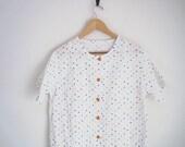 rainbow polka dotted shirt. japanese pastel dot blouse. floral buttons. loose boxy blouse. oversized shirt. 70s shirt. woven linen shirt.