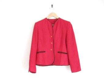 Vintage Saks 5th Avenue Jacket. Red Silk Jacket with Black Trim. Silk Button Down Jacket. Pure Silk Designer Vintage Outerwear Coat. Classy.