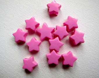 "11pcs Pink Plastic STAR BEADS, 1/2"""