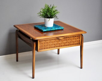 PAIR of Lane Perception End Tables - Wood with Brass and Weave Accents