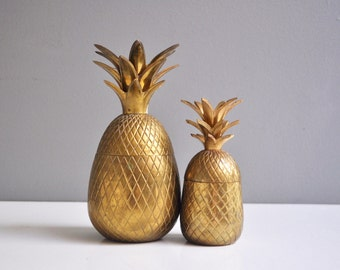 Pair of Vintage Brass Pineapple Containers