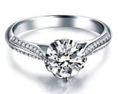 Round Forever One Moissanite Engagement Ring and Diamonds 14k White Gold or 14k Yellow Gold Diamond Ring