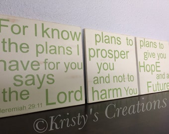 Wooden verse signs - set of three - wall hangings - bible verse - any verse or phrase - Jeremiah 29:11