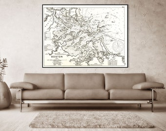 Antique Print of a Boston Massachusetts Nautical Chart on your choice of Photo Paper, Matte Paper or Canvas Giclee