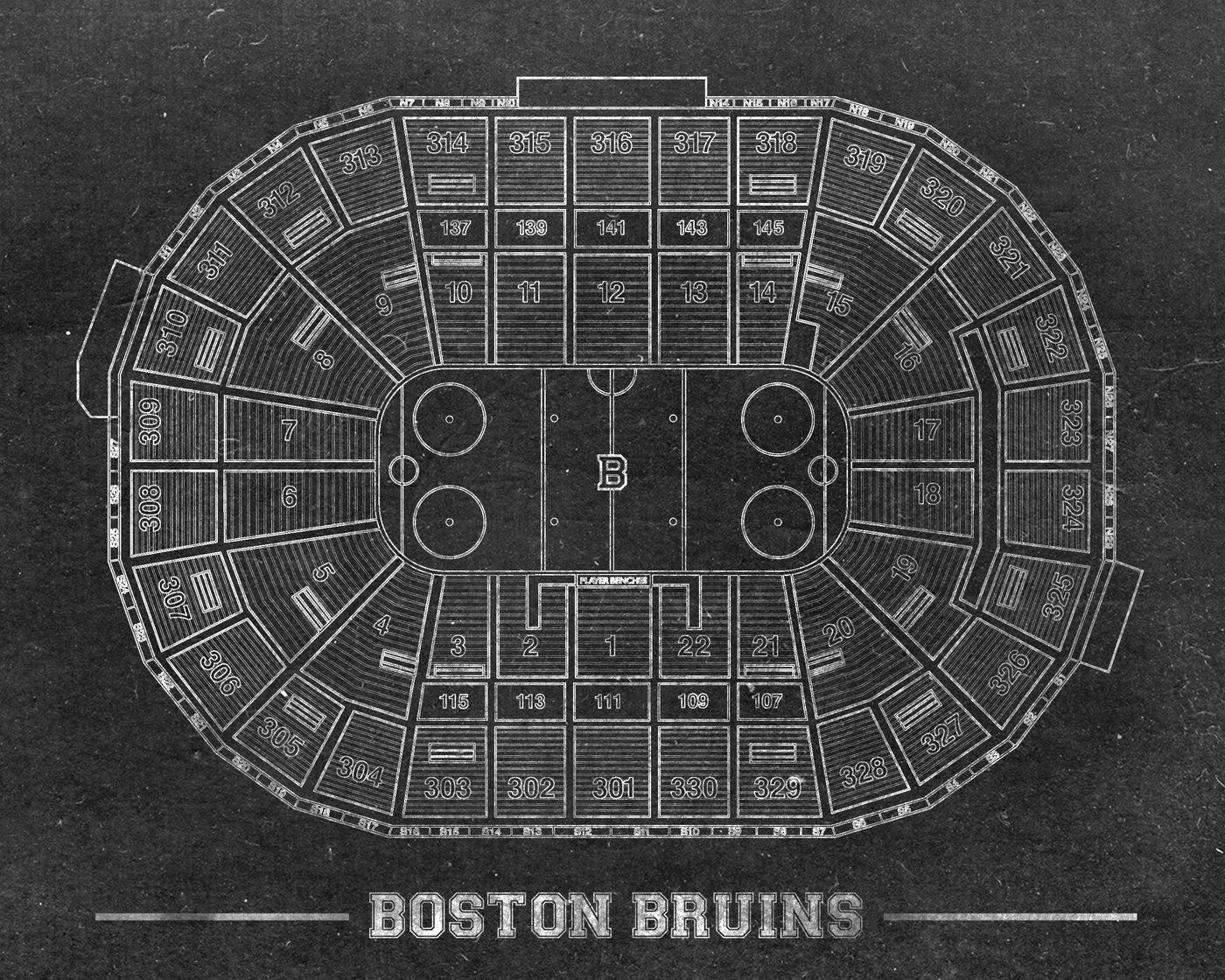 Vintage Print Of Td Garden Seating Chart Free Shipping Boston Bruins Hockey Blueprint Photo