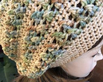 Cream and Aspe Print colors- Tam hippie Hat Slouchy rasta soft-acrylic