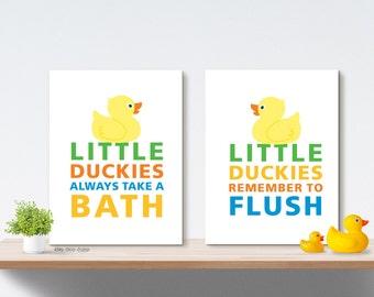 Boy Girl Bathroom Art Prints, Duck Bath Decor, Wall Art, Home Decor