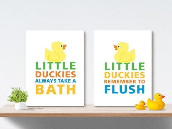 Boy Girl Bathroom Art Prints, Duck Bath Decor, Wall Art, Home Decor