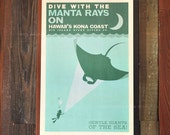 Gentle Giants, Kona Manta Rays - 12x18 Retro Hawaii Travel Print