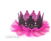 Lace crown || fuchsia + black ballerina|| mini lace crown headband || photography prop