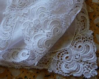 Vintage Handmade  lace bridal hankie Hanky