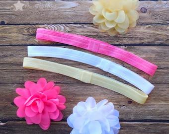 Hair flower, interchangeable elastic headband, Set of 3 each, pink, white, yellow, infant headband, newborn headband, baby girl headband