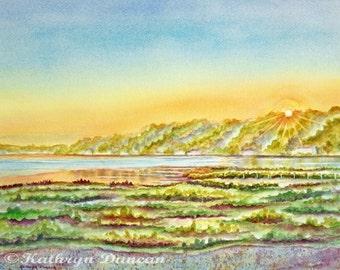 Lake Sunrise Original Watercolor Painting matted to 16x20 lake, sunrise, grass, sand, trees, blue, green, orange, yellow, violet