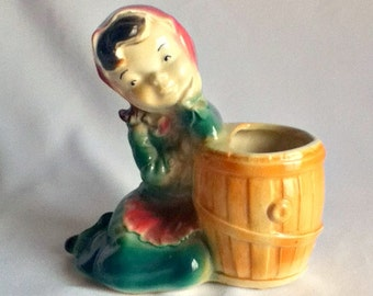 Royal Copley Girl with Barrel Vintage Planter