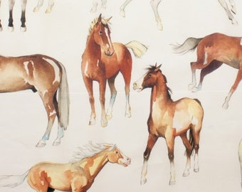 Fabric by the Yard--Love of Horses in Natural-- Alexander Henry Fabrics