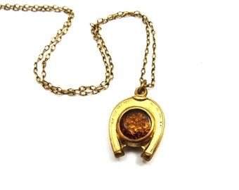 Victorian Pocket Watch Fob Necklace, Gold Filled, Amber Glass, Blood Stone Double Sided, Horse Shoe Good Luck, Equestrian Antique Jewelry