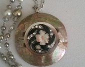Antique ITALIAN ENAMEL BUTTON Necklace with fabulous pearl accents on a supersized Mother of Pearl Buckle