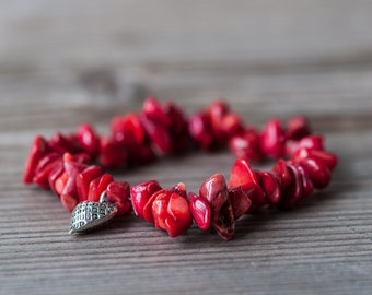 Red Coral Bracelet, Heart Charm Bracelet, Red Bracelet, Beaded Bracelet, Summer Bracelet, Gift For Friend, Budget Jewelry, Summer Fashion