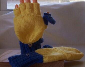 Convertible mittens / fingerless gloves, adult size S, flip top mittens,flip top thumb, glittens
