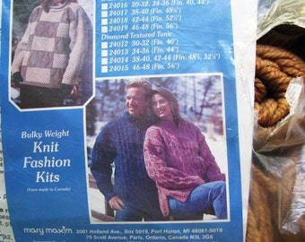 Sweater Knitting Kit Pullover Or Tunic Mary Maxim Vintage