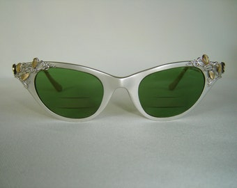 Vintage '50's Cateye Sunglasses, Eyeglasses, Shiny Brushed Silver Color w/Silver & Gold Vine Accents