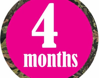 Pink camo - 025- Pink camouflage baby monthly bodysuit decal stickers